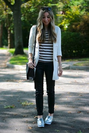silver asos shoes - black coated J Brand jeans - ivory sweater coat Zara sweater