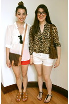 black sam edelman sandals - bronze vintage escada bag - white J Crew shorts