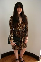 dark brown wrap dress Diane Von Furstenberg dress - dark brown Chanel bag - gold