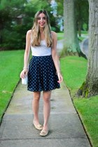 white vintage Chanel bag - navy polka dot H&M skirt - white tank top Gap top
