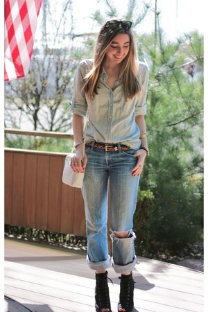 light blue chambray J Crew shirt - black lace up Payless boots