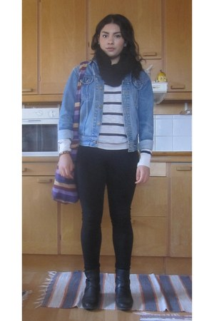 black jeans - blue denim jacket jacket - striped H&M top