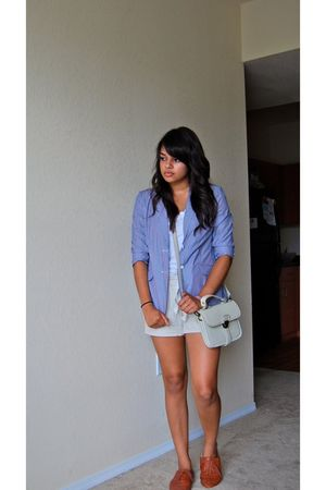 blazer - shirt - shorts - shoes - purse