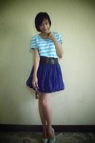 purple apt8 skirt - sky blue shirt - tan pumps
