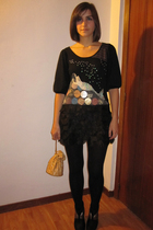 black Tsumori Chisato dress - black Calzedonia tights - black Zara shoes - gold