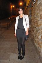 Mango coat - Calzedonia leggings - Zara boots - Mango blazer - Zara purse