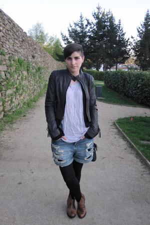 black leather All Saints jeans - brown random boots - blue Topshop shorts