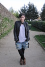 Brown-ramdom-boots-black-leather-all-saints-jeans-blue-topshop-shorts-blac