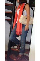 Mango t-shirt - Bershka jeans - scarf - Zara shoes -