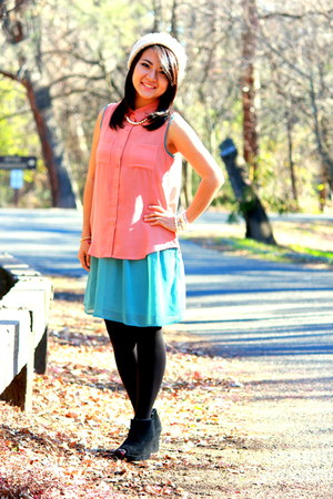 turquoise blue Forever 21 dress - pink chiffon Love Culture blouse