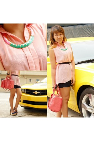 neon Bash necklace - Aldo bag - emporio armani shorts - Primadonna pumps