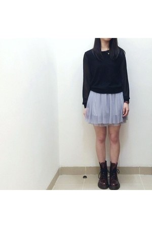 silver tutu dress unknown brand skirt - brick red reflective Dr Martens shoes