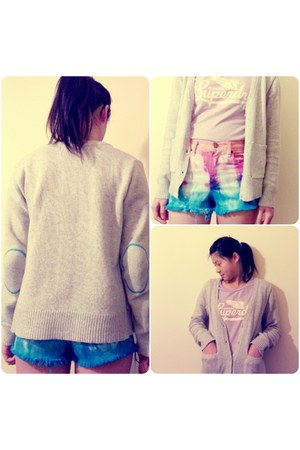 silver wool Primark cardigan - denim shorts Urban Outfitters shorts