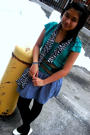 black belt - blue joyce leslie skirt - green Forever 21 blouse - black Marshall