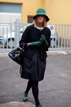 green shoes - black skirt - black coat - green gloves - green hat - black purse