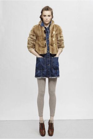 brown Fake London jacket - blue Fake London dress - beige Fake London leggings -