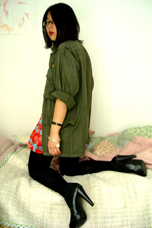 my uncles old military coat - Moms friends shop in Korea dress - Betsey Johnson
