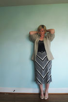 silver Victorias Secret sweater - blue Forever 21 blouse - blue thrifted skirt -