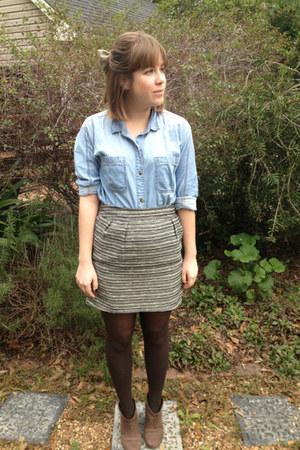 olive green Mossimo skirt - dark brown Gabriella Rochas boots
