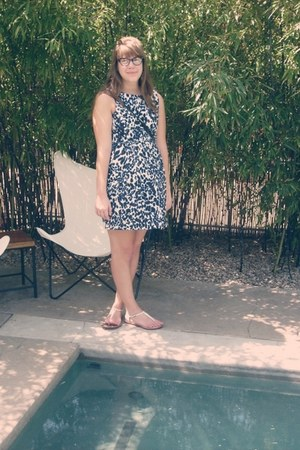 blue Zara dress - white Bernardo sandals - black Ray Ban glasses