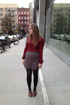 brown H&M skirt - dark brown Target tights - crimson Forever 21 blouse