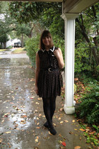 black Sessi dress - black xhiliration tights - brown Gucci bag