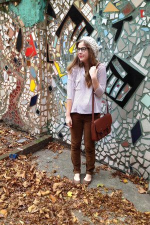 e8646f7e144 ivory Forever 21 hat - maroon Forever 21 sweater - dark brown H M bag