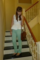 dark brown H&M bag - aquamarine BDG pants - white H&M top