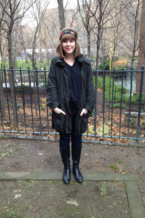 black STYLE AND CO boots - navy BDG jeans - forest green kai-akmaan jacket
