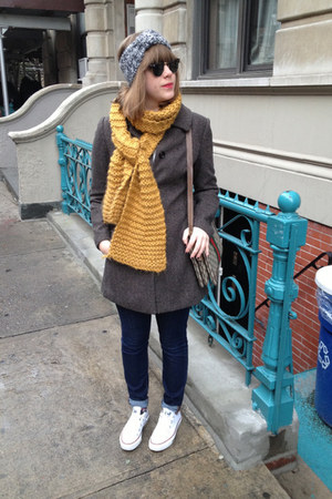 mustard Gift from a Friend scarf - gray H&M coat - navy BDG jeans