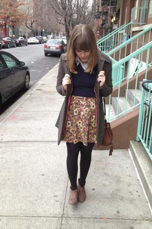 navy Zara sweater - dark brown Gabriella Rochas boots - charcoal gray H&M coat