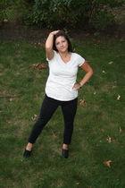 white Loft shirt - black Forever21 jeans - black Aldo shoes