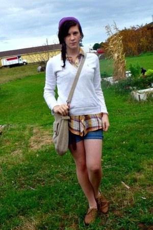 Ralph Lauren top - beanie hat - bag - thrifted shorts - thrifted blouse