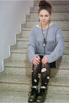 gray Tiger of Sweden sweater - black lindex leggings - white tights - silver elo