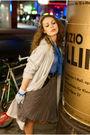 Beige-h-m-coat-blue-shirt-brown-miss-selfridge-skirt-pink-blue-h-m-glove