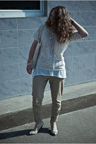 white cream lindex blouse - white shoes - white canvas bag - white H&M top
