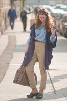 blue Zara coat - blue shirt - brown pants - blue shoes - brown purse - brown