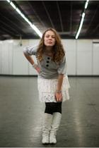 gray a Hong Kong brand sweater - white dress - black Only leggings - white boots