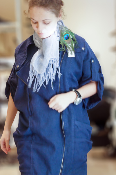 blue Zara coat - blue lindex scarf - green Accessorize earrings - silver brandle
