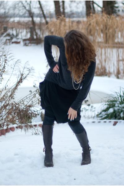 brown Zara sweater - brown tall random brand boots - black random brand pants