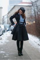 black River Island boots - blue plaid navyash sisters coat - black sequined hat