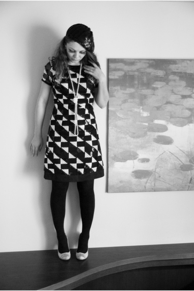 black random brand hat - black wanko dress - black tights - white random brand s