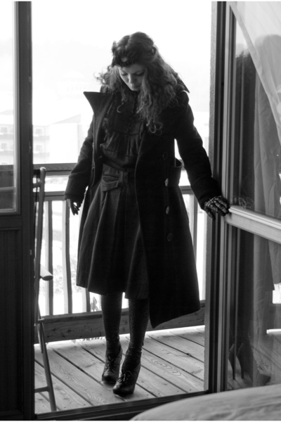 black Zara coat - black kira plastinina skirt - black River Island gloves - blac