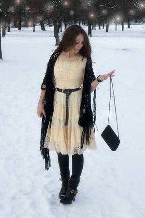 black fringe shawl River Island scarf - black River Island boots