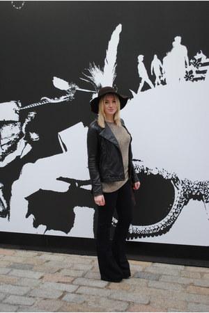 flares Topshop jeans - wide brimmed next hat - leopard print vintage jumper