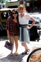 white Target blouse - blue American Eagle skirt - blue Blowfish shoes