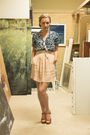 Blue-urban-outfitters-blouse-beige-urban-outfitters-dress-brown-vintage-shoe