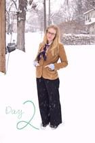 bronze vintage blazer - sky blue Forever 21 blouse - navy vintage pants