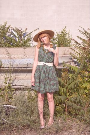 white American Apparel belt - pink shoes - green thrifted dress