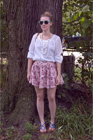 white Urban Outfitters blouse - pink pitaya skirt - blue Aldo shoes - white neck